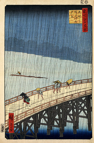 Japanese art - Sudden Shower at the Atake Bridge, Hiroshige, 1856