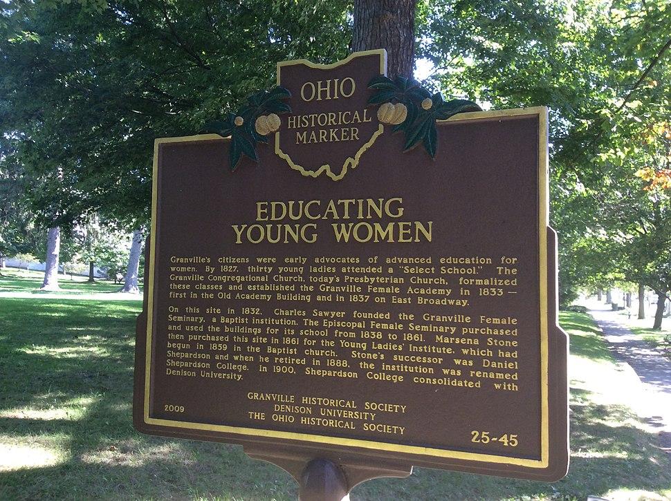 History from 1827 of women%27s advanced education in the village, Ohio Historical Marker, Denison University, Granville, Ohio
