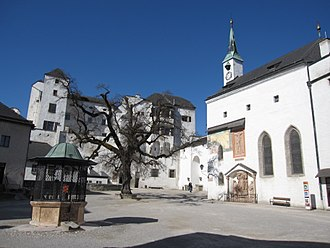 Hohensalzburg Fortress - Inner courtyard towards the Hohe Stock and St. George's Chapel