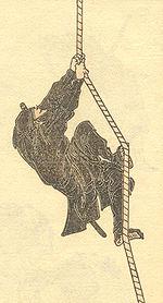 Un ninja raffigurato da Hokusai