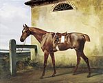 Horace Vernet - A Saddled Race Horse Tied to a Fence - WGA24752.jpg