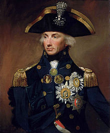 Painted portrait of Rear-Admiral Sir Horatio Nelson by Lemuel Francis Abbott, showing the Admiral in full uniform, looking to the left with an empty right sleeve pinned to his chest