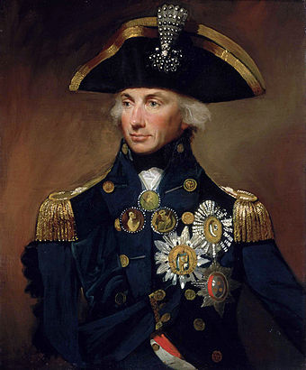 Rear-Admiral Sir Horatio Nelson, Lemuel Francis Abbott, 1800, National Maritime Museum. Visible on his cocked hat is the aigrette presented by the Ottoman Sultan as a reward for the victory at the Nile HoratioNelson1.jpg