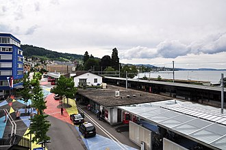 Horgen - The bus and railway stations at Horgen