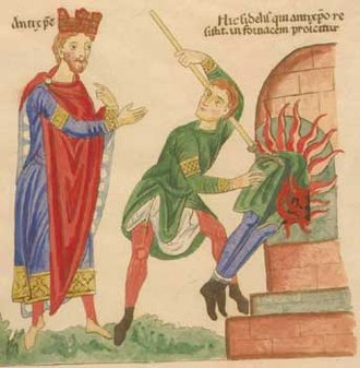 Antichrist - Antichrist (figure on the left, with the attributes of a king) by Herrad von Landsberg (about 1180), Hortus Deliciarum – 12th century