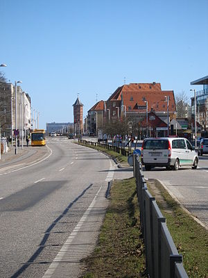 Glostrup - Glostrup main road with the iconic water tower