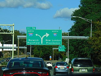 Interstate 395 (Connecticut–Massachusetts) - I-95 at the I-395 split in East Lyme/Waterford town line.