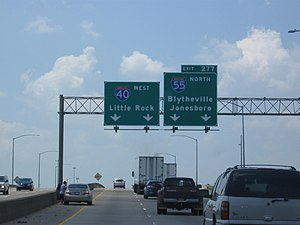 Interstate 55 - I-55 splits from I-40 here in West Memphis, Arkansas and heads north toward Jonesboro and the Missouri border.