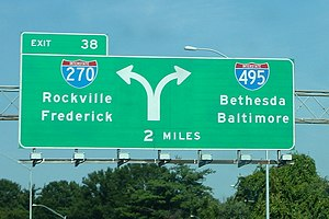 Interstate 495 (Capital Beltway) - I-270/I-495 split (October 2005)