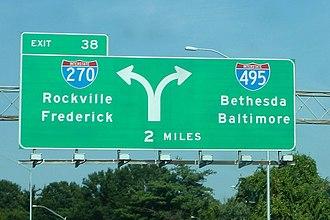 Interstate 495 (Capital Beltway) - I-270/I-495 split (October 2005)