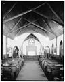 INTERIOR LOOKING SOUTH SHOWING PEWS AND ALTAR - St. John the Evangelist Episcopal Church, Dingmans Ferry, Pike County, PA HABS PA,52-DING,4-4.tif