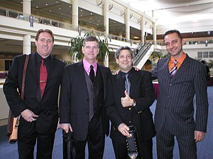 International Pool Tour - IPT Tour Members Colin Colenso, Keith McCready, Bernie Friend, and Stefan Santl at the IPT King of the Hill Shootout in Orlando, Florida, December 2005 adhering to Trudeau's mandatory dress code