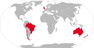 Ikara (missile) - Map with former Ikara operators in red
