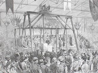 Commonwealth Institute - Arthur Sullivan conducts his Imperial Ode as Queen Victoria lays the foundation stone, 1887