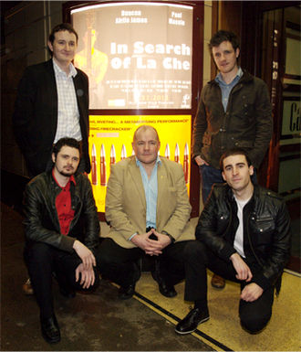 In Search of La Che - Cast and crew at the premiere of the film. (Top L-R) Chris Quick, Paul Massie (Bottom L-R) Andy S. McEwan, Duncan Airlie James, Mark D. Ferguson