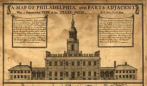 Independence Hall - Detail of A Map of Philadelphia and Parts Adjacent, depicting the State House as it appeared in 1752. The image shows the original bell tower, which lacked a clock.