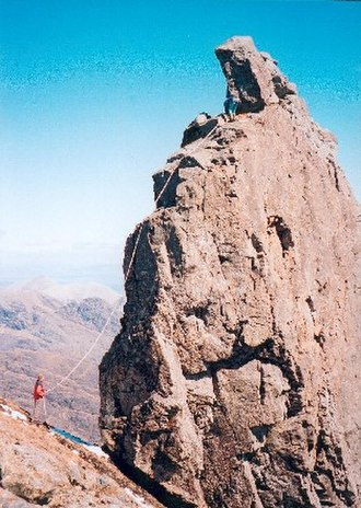 Sgùrr Dearg - A climber on the west ridge of the Inaccessible Pinnacle, taken from near the lower top of Sgùrr Dearg