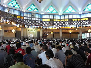 English: Friday prayer inside the main prayer ...