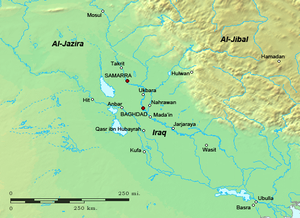 Abbasid civil war (865–866) - Map of Iraq and surrounding regions in the mid-ninth century.