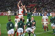 Ireland playing Georgia in the 2007 Rugby World Cup.