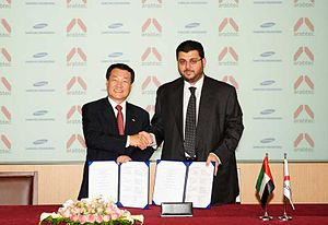 Hasan Abdullah Ismaik - Ismaik and Park Choong Heum, CEO of Samsung Engineering during the signing of an agreement to form Arabtec-Samsung Engineering Joint Venture