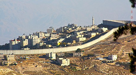 Israeli West Bank barrier near Mount Zion