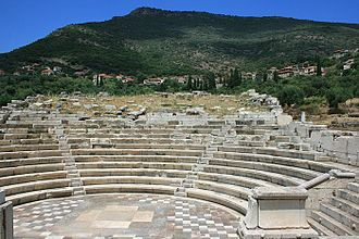 Ithome - View of Mavromati from the classical ruins below.