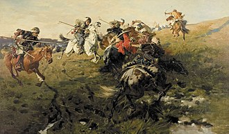 Pontic–Caspian steppe - Zaporozhian Cossacks fighting Tatars from the Crimean Khanate--late 19th-century painting