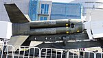 JASDF Nike-J missile booster right side view at Hamamatsu Air Base Publication Center November 24, 2014.jpg