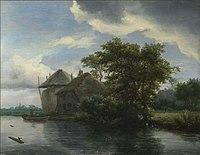 Jacob van Ruisdael - Rivierlandschap met een huis en hooiberg - NG2565 - National Gallery.jpg