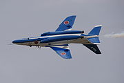Japan air self defense force Kawasaki T-4 Blue Impulse RJNK Inverted & Continuous Roll.JPG