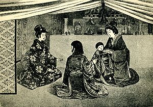"Marriage in Japan - ""Japanese at home."" From the book Japan and Japanese (1902), p. 71."