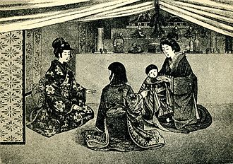 "Marriage in Japan - ""Japanese at home."" From the book Japan and Japanese (1902), p. 71. They are celebrating the Girl's Day. See Hinamatsuri"
