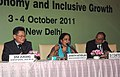 "Jayanthi Natarajan addressing the Press Conference at the end of 2011 Ministerial Dialogue on ""Green Economy and Inclusive Growth"", in New Delhi. The Under Secretary General, UNDESA, Mr. Sha Zukang and the Secretary.jpg"