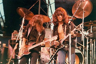 Jefferson Starship - Pete Sears and Craig Chaquico of Jefferson Starship in Central Park in 1981