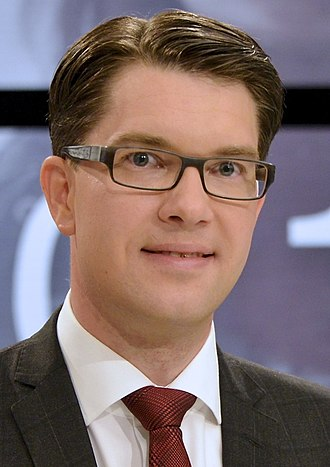 2014 Swedish general election - Image: Jimmie Åkesson inför slutdebatten (cropped)