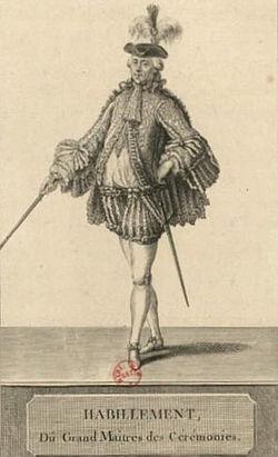 En Grand maître des cérémonies, en 1775 pour le sacre de Louis XVI, gravure Charles Emmanuel Patas.