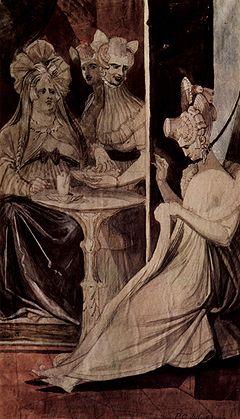 Drei Frauen sitzen an einem kleinen Tisch, eine näht, eine trinkt eine Tasse Tee.  Alle drei sehen fast schrecklich aus.  Die dritte Frau sieht aus, als hätte sie zwei Köpfe, aber es kann sein, dass es vier Frauen gibt.  Die Köpfe der Frauen sehen nicht so aus, als ob sie sich auf ihrem Körper wohl fühlen.  Die Farben sind Dunkelrot, Schwarz, Braun und Mandel.