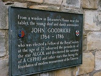John Goodricke - Marker for John Goodricke in York, England