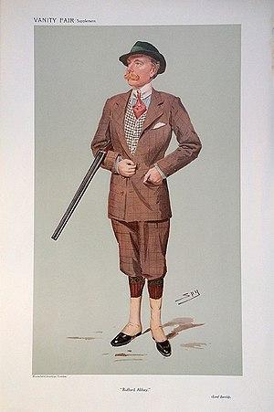"Baron Savile - John Savile Lumley-Savile (2nd Baron Savile) caricatured by Spy in Vanity Fair, 1908. The image is captioned ""Rufford Abbey""."