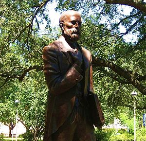 McNeese State University - Statue of John McNeese on the campus. McNeese, a regional pioneer educator, is the namesake of the university.