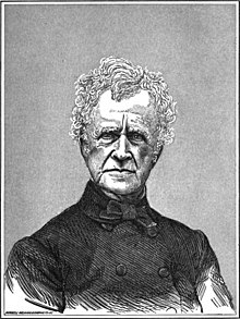Black and white engraving of an old White man with serious countenance and a buttoned black coat