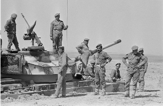 Jordanian soldiers surrounding Syrian tank, 17 September 1970