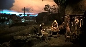 Jorvik Viking Centre - Fishermen work and talk as part of the Time Warp experience