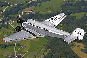Ju-Air Junkers Ju-52 in flight over Austria.jpg