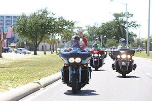 Kyle Petty Charity Ride Across America - Kyle Petty leads bikers during 2016 motorcycle trek.