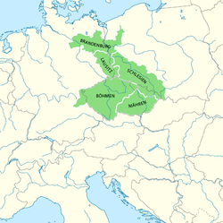 The Bohemian Crown lands under Charles IV, Holy Roman Emperor. Bohemian Palatinate can be seen in the lower left, adjacent to Bohemia