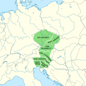 Duchy of Austria - Ottokar's acquisitions until 1276, superimposed on modern European borders