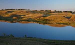 Glacial Lakes State Park - Kettle lake and rolling hills in Glacial Lakes State Park