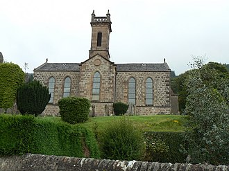 Kilmun Parish Church and Argyll Mausoleum - The church's façade with the modern bell tower.